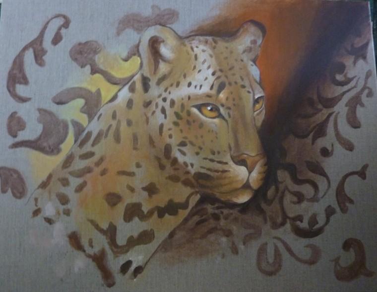 Peinture sur lin - Guépard